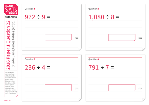 Divide numbers up to four-digits by one-digit numbers - KS2 Maths Sats Arithmetic - Practice Worksheet