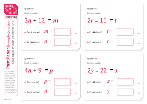Solve equations - KS2 Maths Sats Reasoning - Practice Worksheet