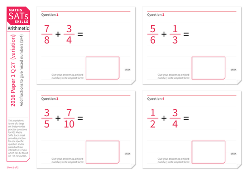 Add fractions to give mixed number answers - KS2 Maths Sats Arithmetic - Practice Worksheet