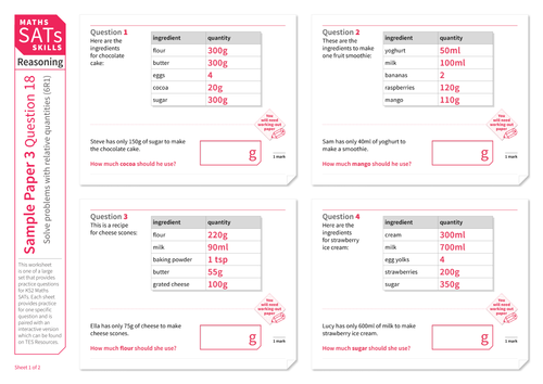 Solve problems with relative quantities - KS2 Maths Sats Reasoning - Practice Worksheet