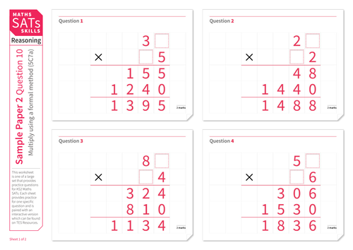 Multiply using a formal method - KS2 Maths Sats Reasoning - Practice Worksheet