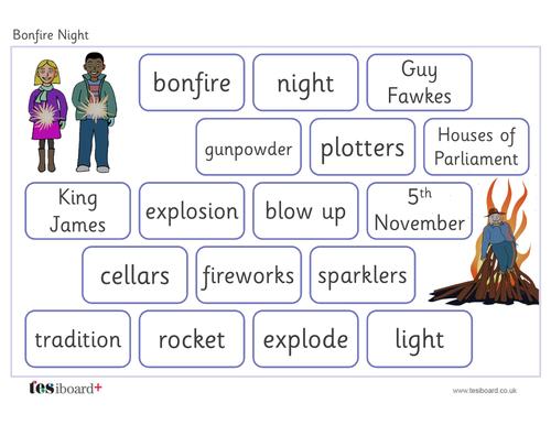 Vocabulary Mat - Creative Writing - Bonfire Night KS1