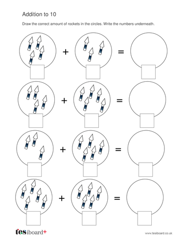Addition to 10 Worksheet - Firework Maths - Bonfire Night KS1