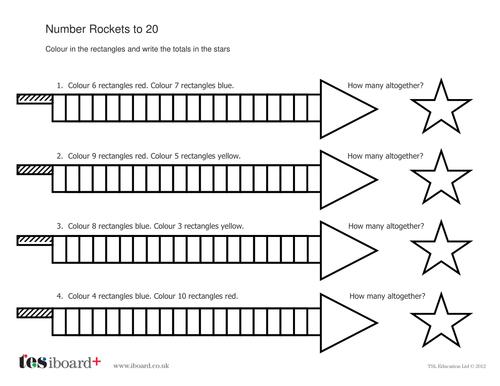Addition to 20 Worksheet - Number Rockets - Bonfire Night KS1