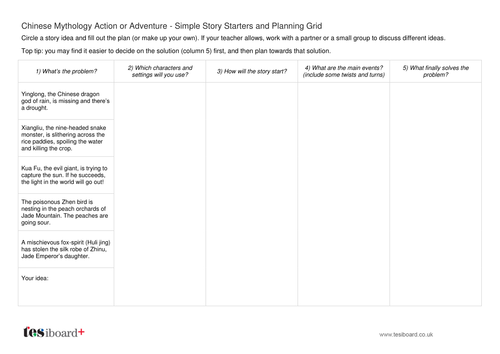 Story Planning Worksheet - Chinese Mythology Action and Adventure - Chinese New Year KS2