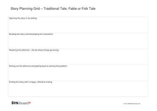 Story Planning Grid - Folk Tale - Literacy KS2