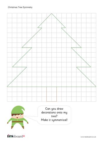 Christmas Tree Symmetry Worksheet - Christmas KS2