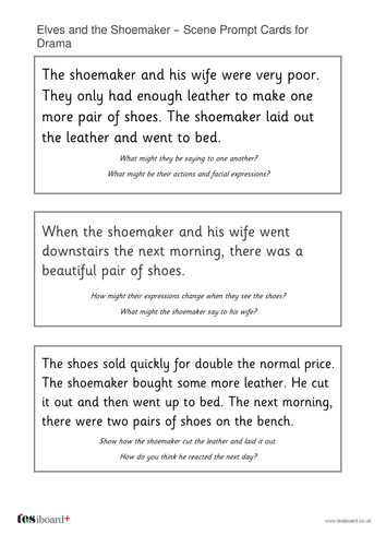 The Elves and the Shoemaker Drama Cards - Christmas KS1