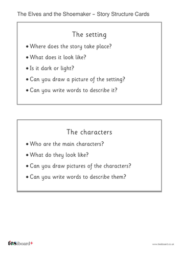 Elves and the Shoemaker Story Structure Worksheet - Christmas KS1