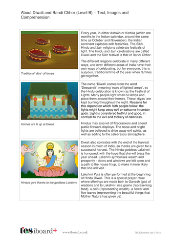 Diwali Text, Images and Quiz - Reading Level B - Diwali KS2