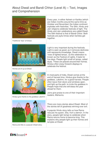 About Diwali Information Text, Images and Quiz - Reading Level A - Harvest KS2