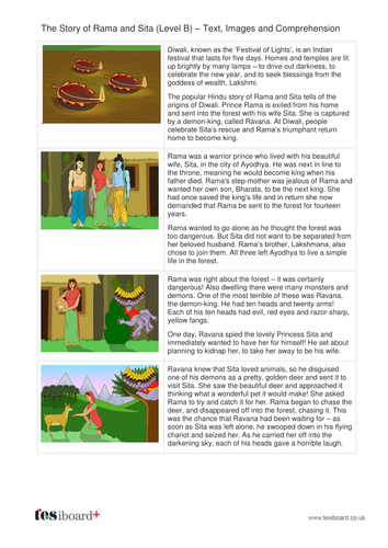 Rama and Sita Text, Images and Quiz - Reading Level B - Diwali KS2