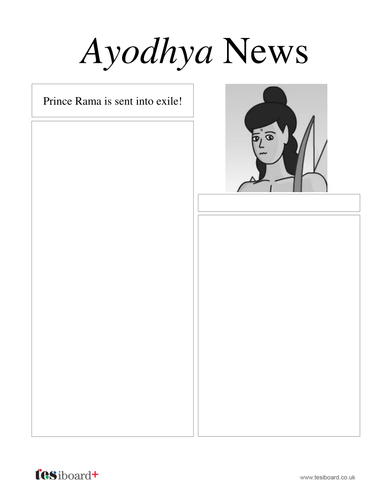 Newspaper Template: Rama's Exile - Diwali KS2