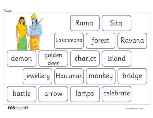 Rama and Sita Vocabulary Mat - Creative Writing - Diwali KS1