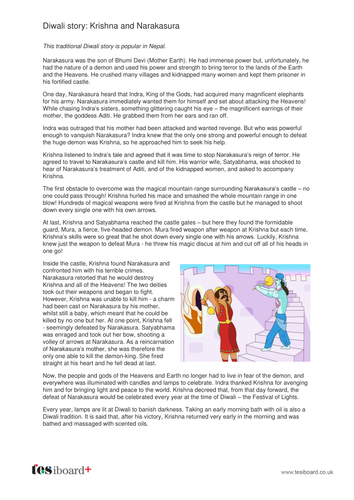 Krishna and Narakasura - Information Sheet - Diwali KS2