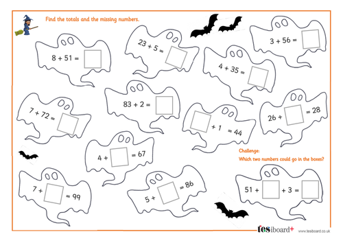 Adding a Two-Digit Number to a One-Digit Number - Spooky Maths Worksheet - Halloween KS1/KS2