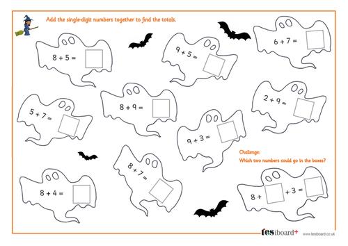 One-Digit Addition - Spooky Maths Worksheet - Halloween KS1/KS2