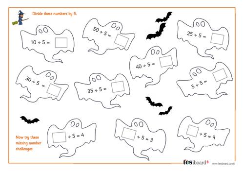 Dividing by 5 - Spooky Maths Worksheet - Halloween KS1/KS2