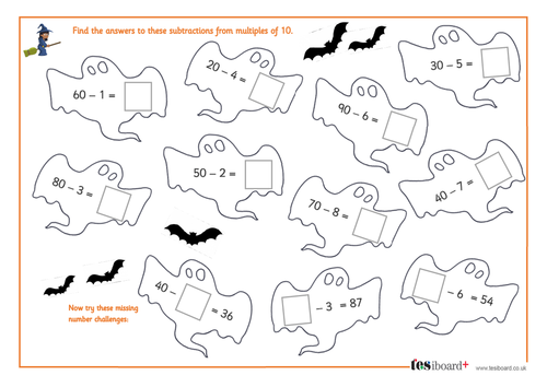 Subtracting a One-Digit Number from a Multiple of 10 - Spooky Maths Worksheet - Halloween KS1/KS2