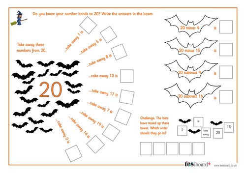 Subtraction from 20 - Spooky Maths Worksheet - Halloween KS1/KS2