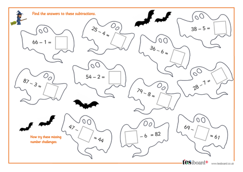 Subtracting a One-Digit Number from a Two-Digit Number - Spooky Maths Worksheet - Halloween KS1/KS2