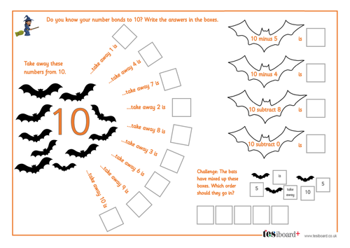 subtraction from   spooky maths worksheet  halloween ksks by  subtraction from   spooky maths worksheet  halloween ksks by  teselements  teaching resources  tes