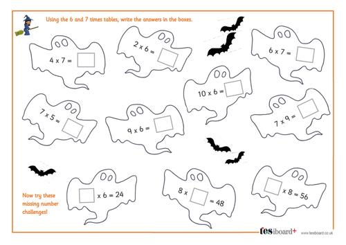 6 and 7 Times Tables - Spooky Maths Worksheet - Halloween KS1/KS2