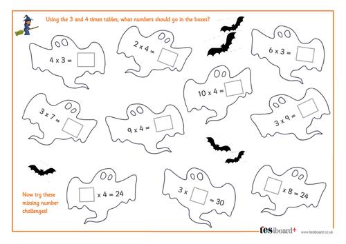 3 and 4 Times Tables - Spooky Maths Worksheet - Halloween KS1/KS2