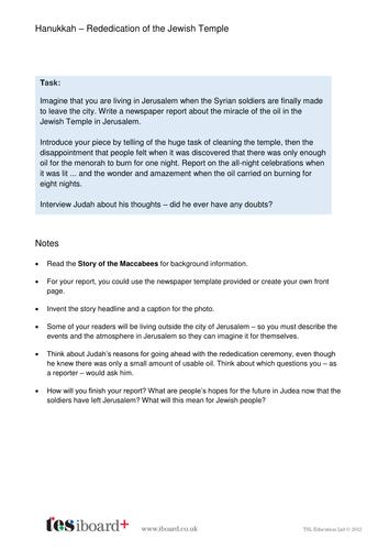 Newspaper Template and Writing Task - Hanukkah KS2
