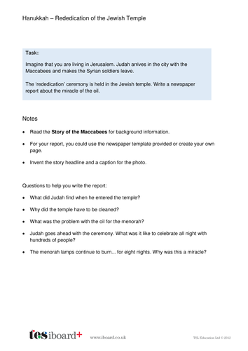 Newspaper Template and Writing Task - Hanukkah KS1