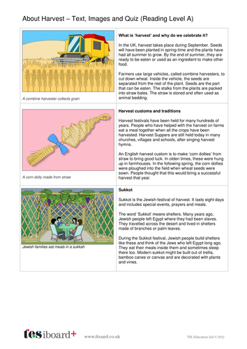 Harvest Story Text, Images and Quiz - Reading Level A - Harvest KS1