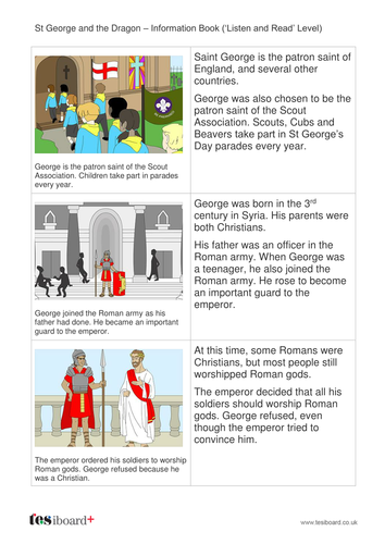 St George and the Dragon Information Book - Early Reader Level - St George's Day KS1