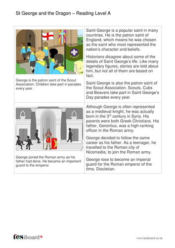 St George and the Dragon Information Book - Reading Level A - St George's Day KS1