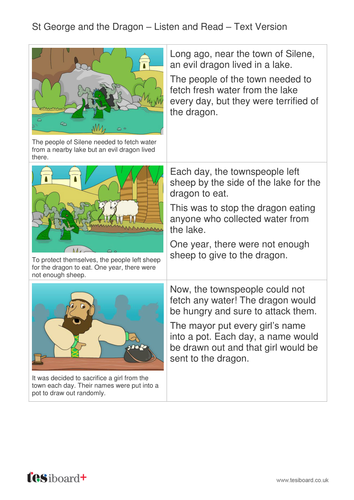 St George and the Dragon Text and Images - Early Reader Level - KS1 Literacy