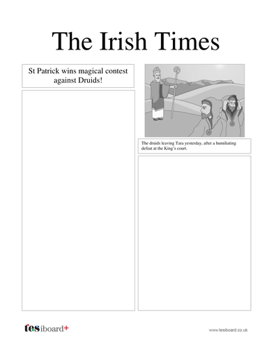 Newspaper Template -  St Patrick's Day KS2