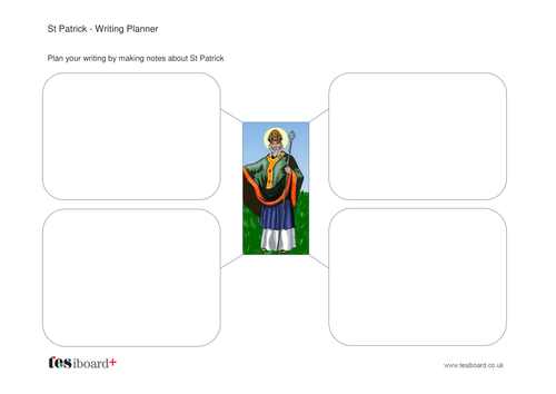St Patrick Writing Planner Worksheet -  St Patrick's Day KS1