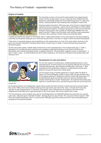 Information Text and Images - History of Football KS1