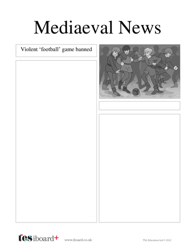Newspaper Template: Mob Football - History of Football KS1