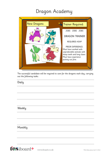 Dragon Trainer Profile Writing Task - KS1 Literacy
