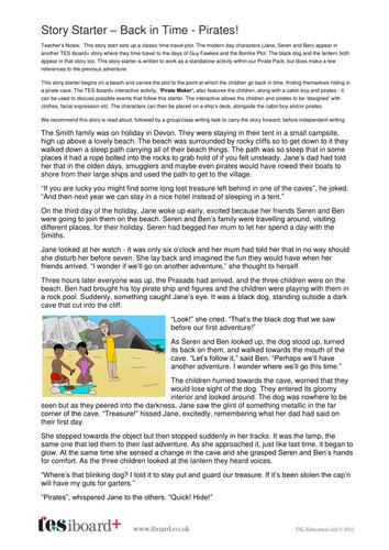 Story Starter - Pirates Back in Time - KS1 Literacy