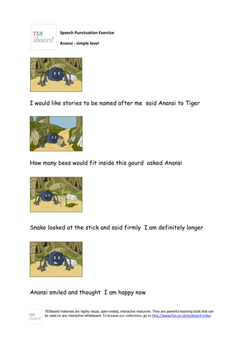 Anansi and Tiger Dialogue Punctuator Worksheet (Simple) -  KS1/KS2 Literacy