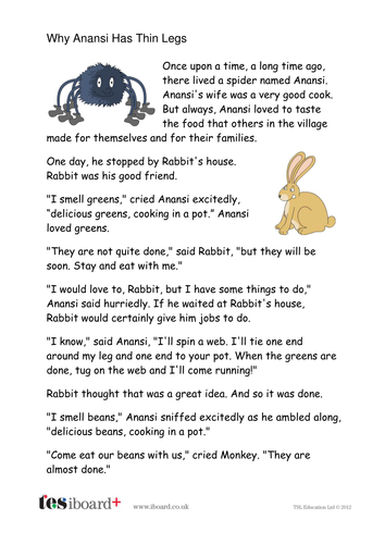 Why Anansi Has Thin Legs Story Text - KS1 Literacy