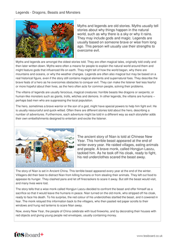 Dragon, Beasts and Monsters Storybook and Questions - Reading Level B - KS2 Literacy