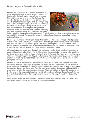 Beowulf and the Wyrm - Information Sheet - KS2 Literacy