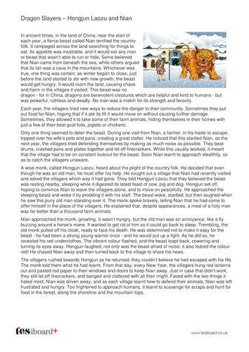 Hongjun Laozu and Nian - Information Sheet - KS2 Literacy
