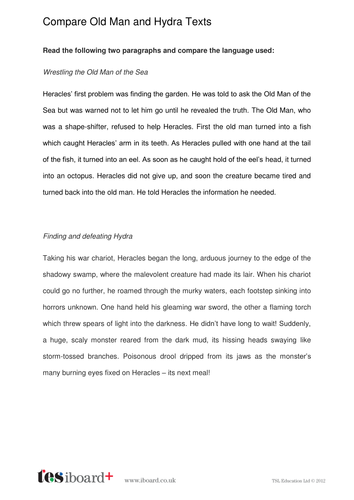 Story Comparison Worksheet - Old Man and the Sea / Hydra - KS2 Literacy