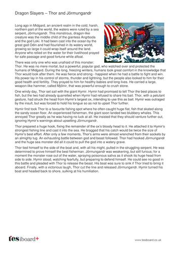 Thor and Jormungandr - Information Sheet - KS2 Literacy
