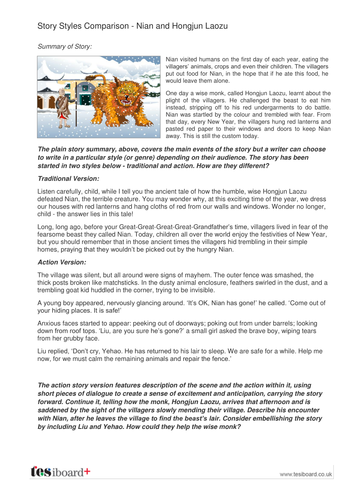 Story Style Comparison Activity - Hongjun Laozu and Nian - KS2 Literacy