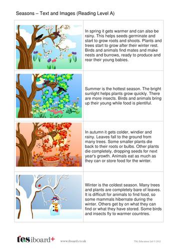 Seasons Explanation Book - Reading Level A - KS1 Literacy