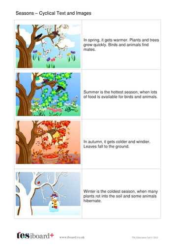 Seasons Explanation Book - Early Reader Level - KS1 Literacy